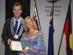 Mayor Michael Regan presents the 2019 Outstanding Community Service Award to Mrs Vivian Dustan at the Northern Beaches Council Australia Day Awards Ceremony. Council Chambers Civic Centre Dee Why, Thursday 24th January 2019.