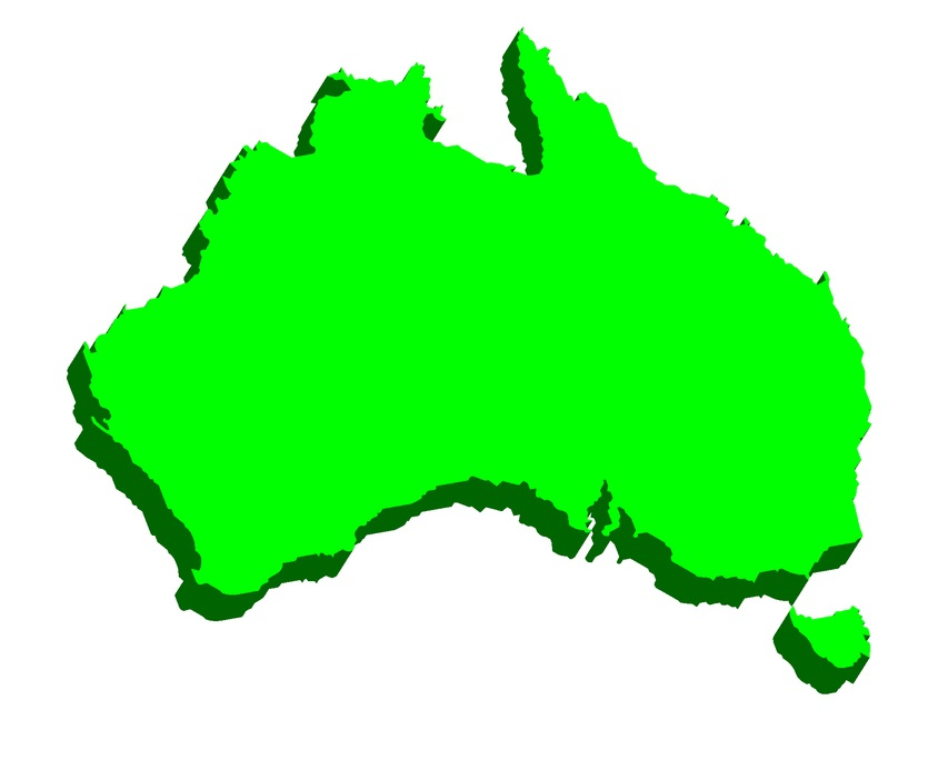 3D map of Australia (Commonwealth of Australia) continent - black, red, blue and green - vector illustration