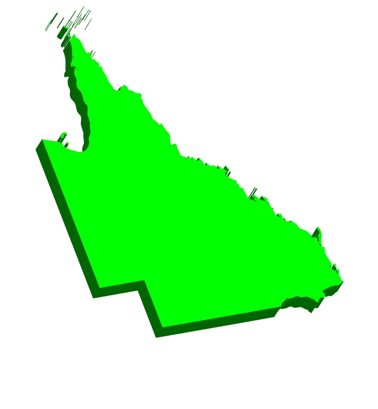 3D map of Queensland (Australian states and territories, Qld) - black, red, purple, blue and green - vector illustration