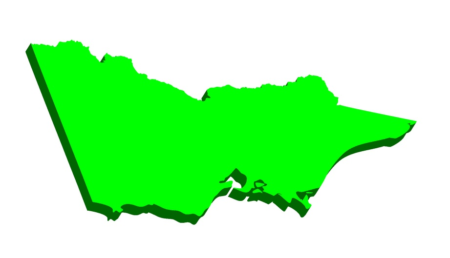 3D map of Victoria (Australian states and territories, Vic) - black, red, blue and green - vector illustration