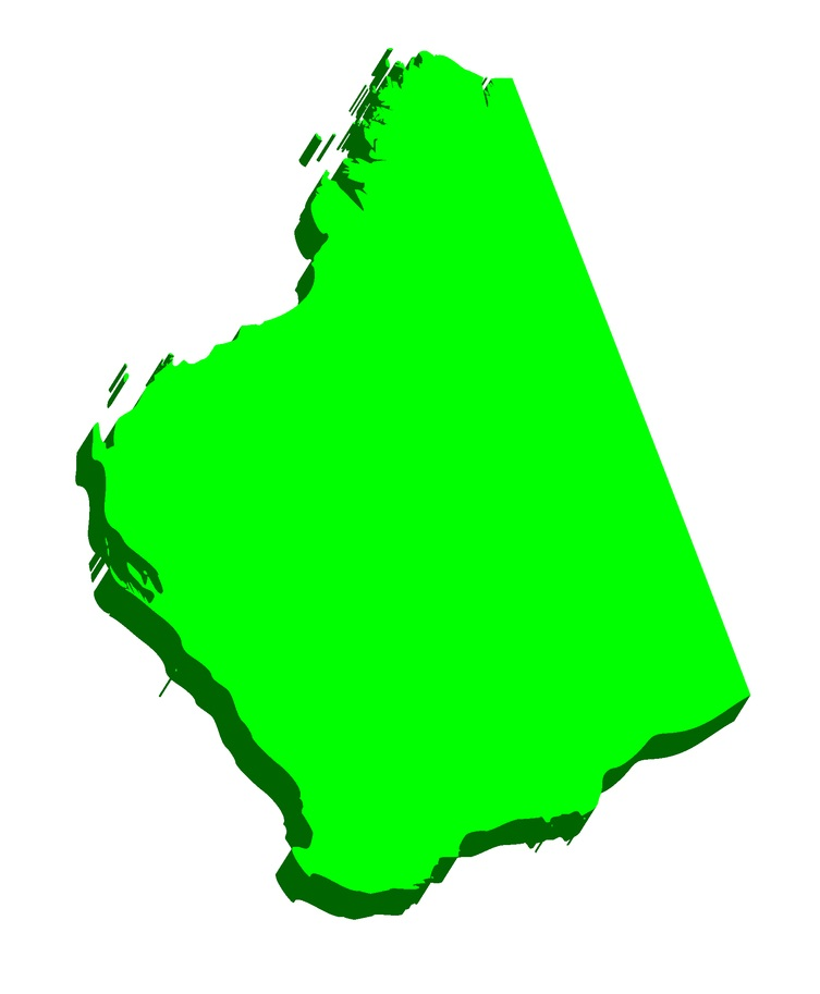 3D map of Western Australia (Australian states and territories, WA) - black, red, purple, blue and green - vector illustration